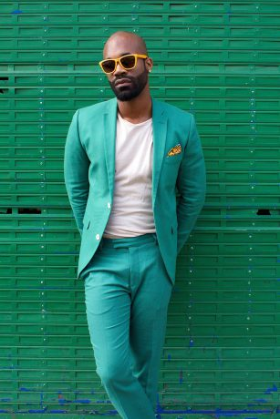 Green, suit, glasses, yellow, white shirt,